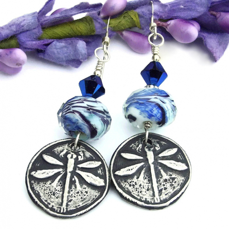 silver and blue dragonfly jewelry gift idea for her