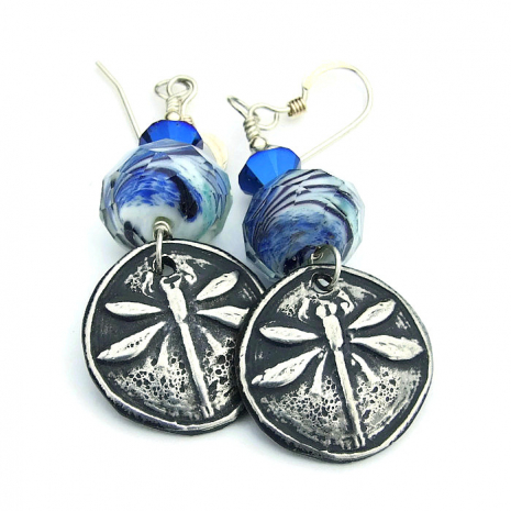 handmade dragonfly earrings for women gift idea