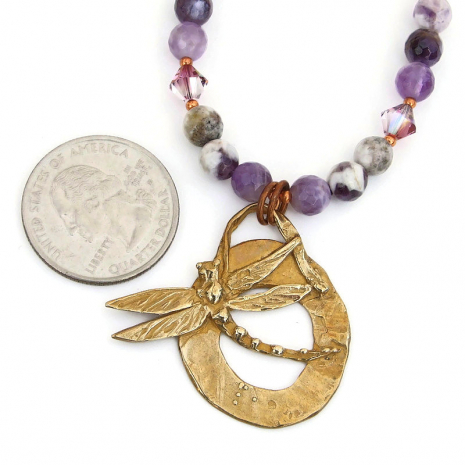 dragonfly jewelry with chevron amethyst and swarovski crystals