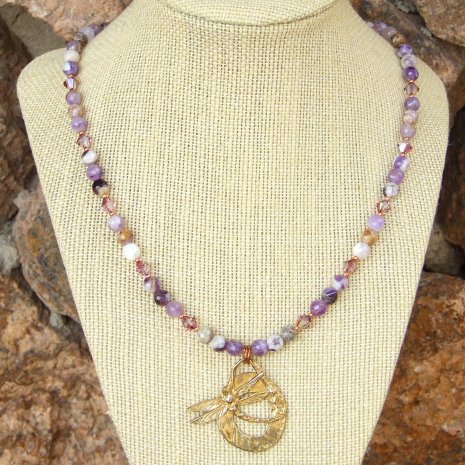 dragonfly necklace with chevron amethyst and swarovski crystals