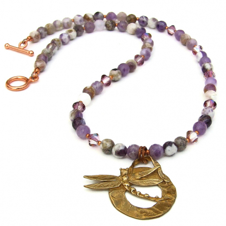 dragonfly pendant and chevron amethyst necklace gift for women