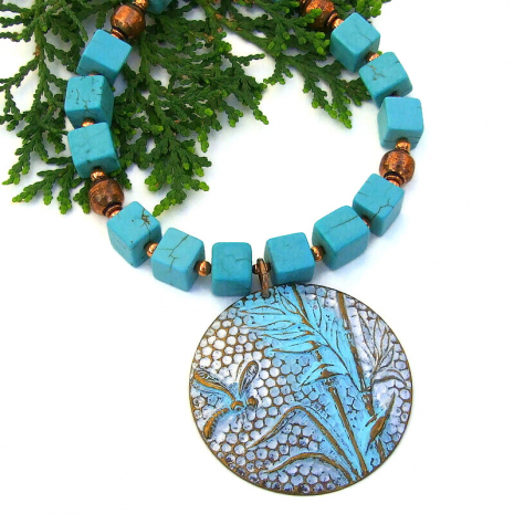 dragonfly pendant necklace turquoise magnesite copper