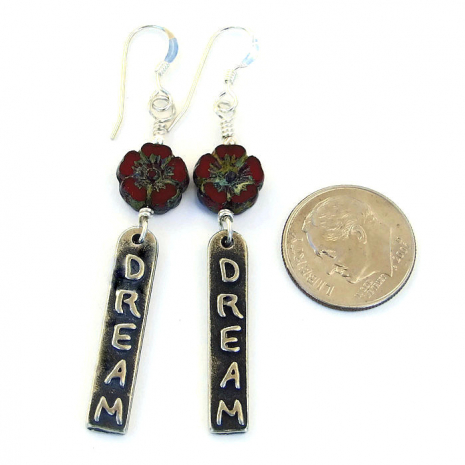inspirational dream earrings with red flowers