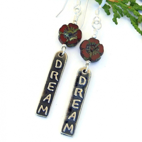 Inspirational word earrings