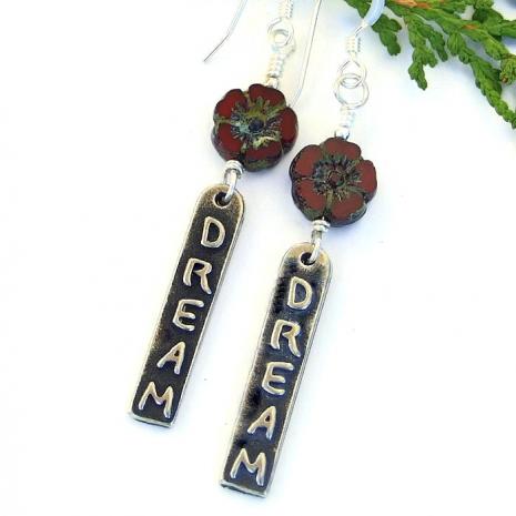 Inspirational word earrings