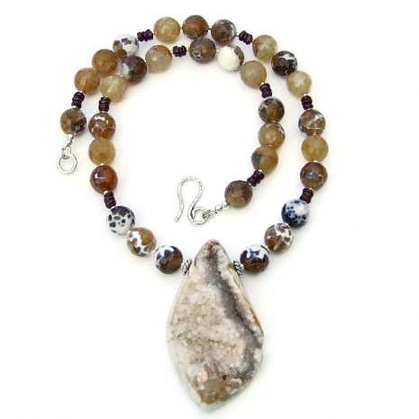druzy agate pendant necklace brown fire agate red garnet