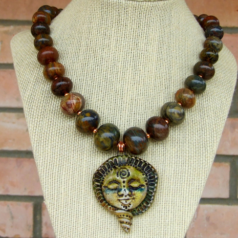 earthy goddess pendant jewelry with jasper gemstones