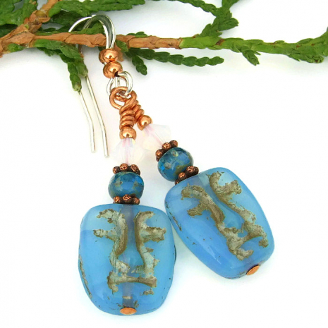 Czech glass face mask earrings gift idea for women