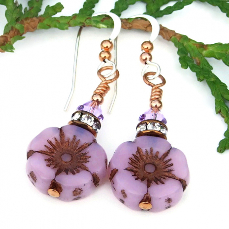 easter mothers day opal pink flower and crystal earrings gift