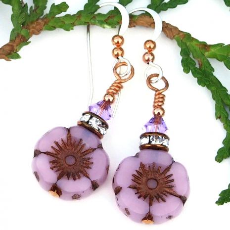 easter mothers day pink flower earrings gift