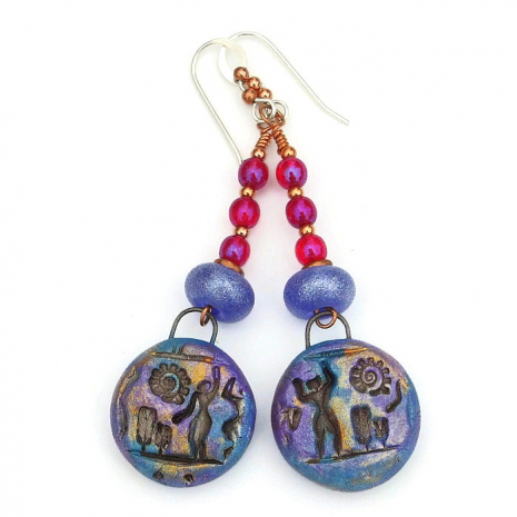 egyptian hieroglyph earrings for women