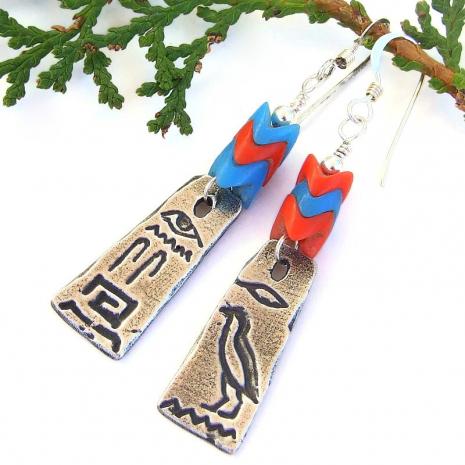 egyptian hieroglyphs handmade jewelry gift for women