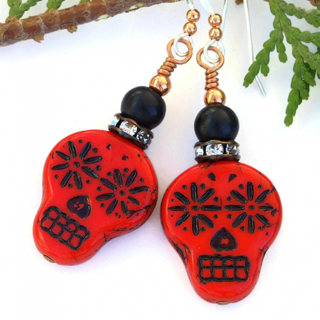 Halloween / Day of the Dead red and black sugar skull handmade earrings.