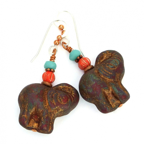 maroon czech glass elephant earrings