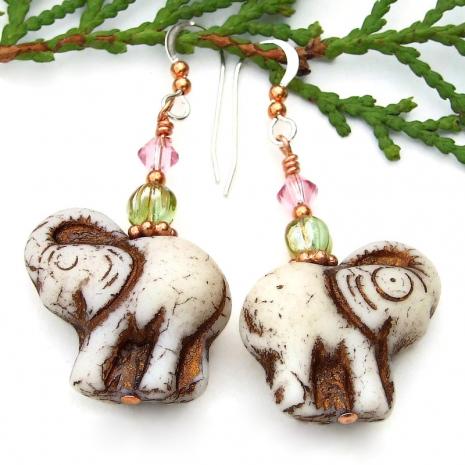 elephant earrings gift for women