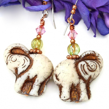 elephant earrings with lime green glass pink crystals