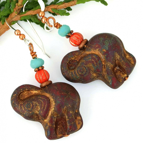 unique elephant earrings gift idea for her