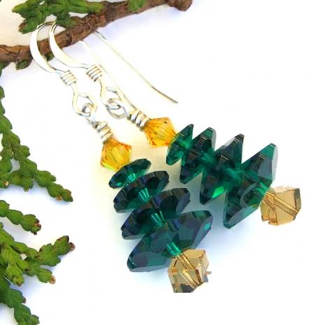 emerald green yellow topaz christmas jewelry swarovski crystals