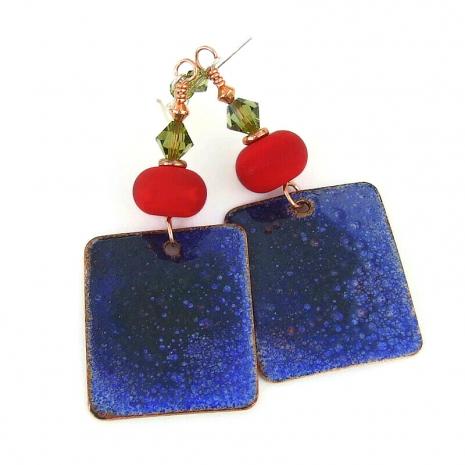 enamel backside of skating reindeer earrings
