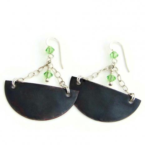 enamel black backside of bird earrings