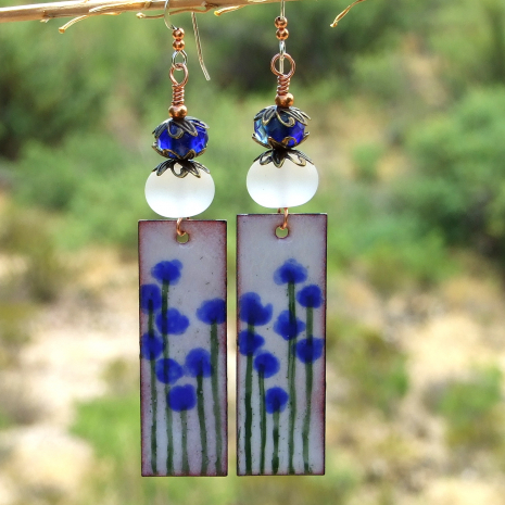 enamel blue flower dangle jewelry glowing lampwork beads