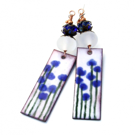 enamel blue flowers on white earrings gift for her