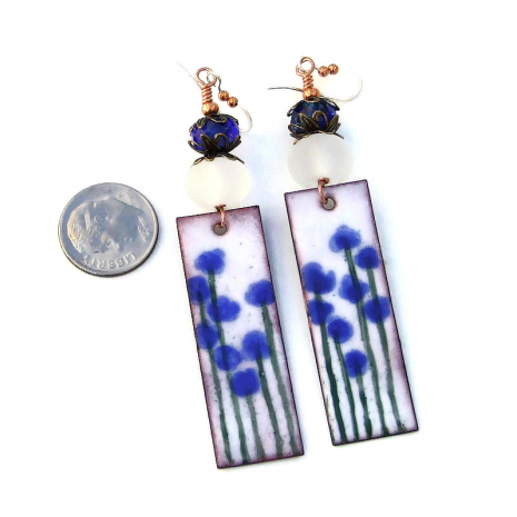 enamel blue flowers on white jewelry gift for her