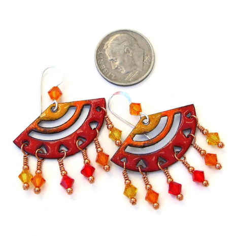 enamel chandelier earrings in red orange yellow gift for her
