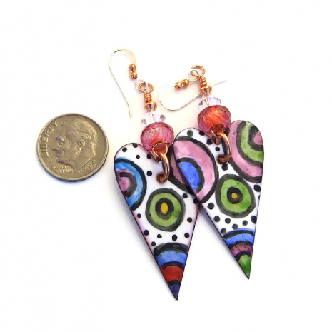 enamel heart earrings valentines day gift