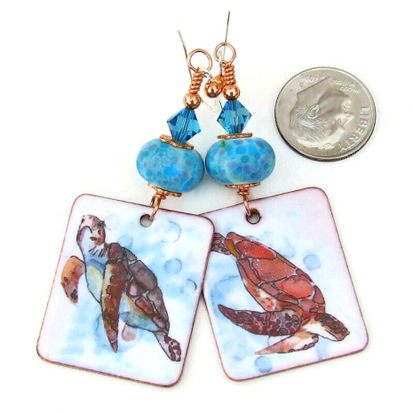 enamel sea turtle dangle earrings gift for her