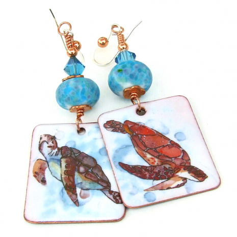 enamel sea turtle dangle jewelry gift for her