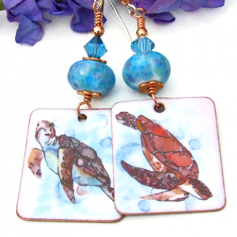 enamel sea turtle handmade jewelry blue frit lampwork beads