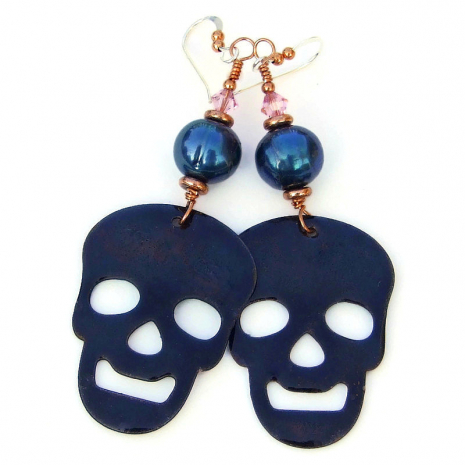 enameled backside of sugar skulls earrings