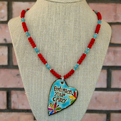 embrace your crazy necklace with red coral and czech glass
