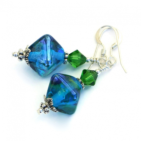 Aqua and green handmade earrings.