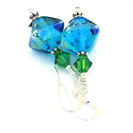 One of a kind aqua lampwork earrings.