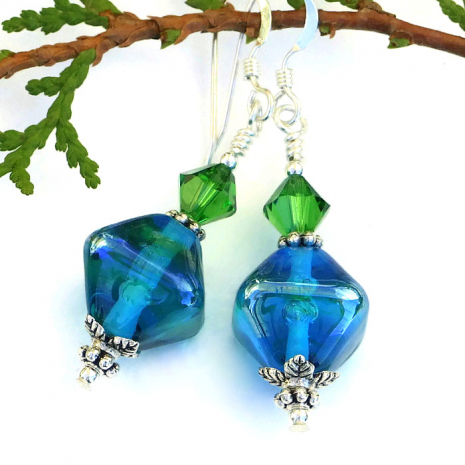 Aqua and green lampwork and Swarovski crystal earrings.