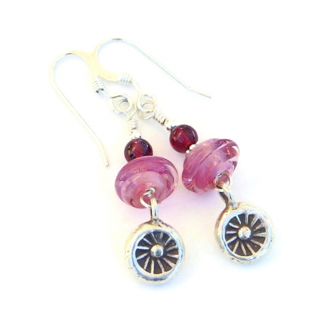 Handmade pink and silver Valentines earrings