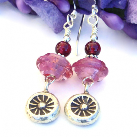Pink lampwork and garnet  Valentines earrings