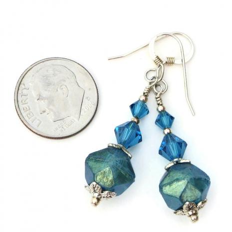 english cut czech glass and swarovski crystal earrings