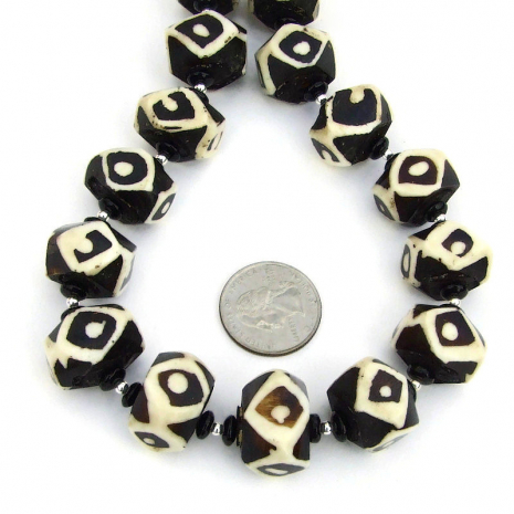 black and white vintage african batik bone bead necklace