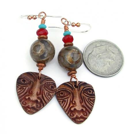 tribal face mask and tibetan eye agate jewelry