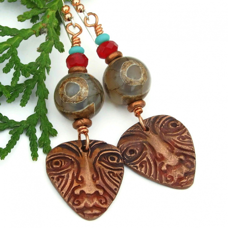 tribal mask jewelry gift for women