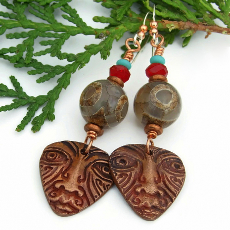 tribal face earrings one of a kind gift