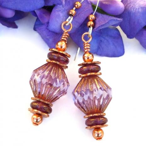 faceted pink purple copper dangle earrings gift for women