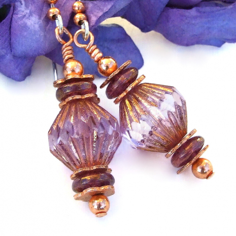 faceted pink purple copper dangle jewelry gift for women