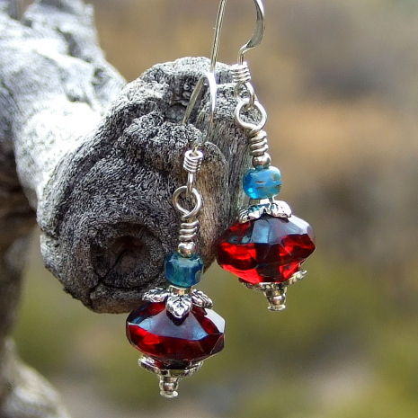 ruby red and teal earrings git for women