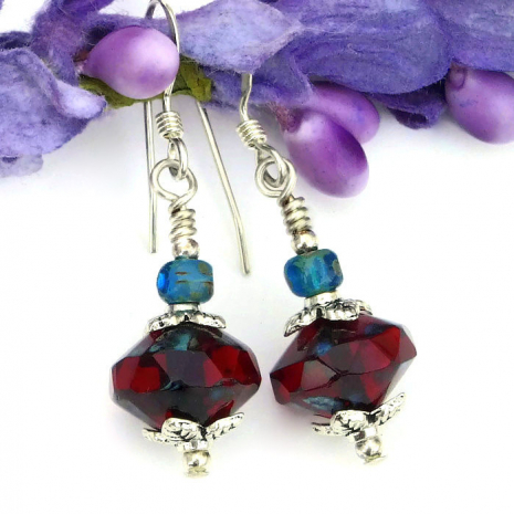 ruby red and teal jewelry for her
