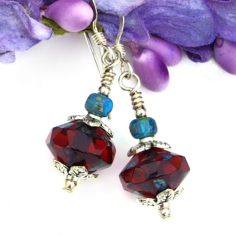 ruby red earrings for women