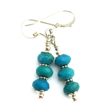 faceted turquoise earrings gift for her